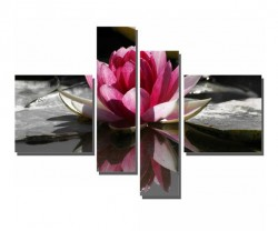 4 Parçalı Pembe Çiçek Tablosu - Thumbnail
