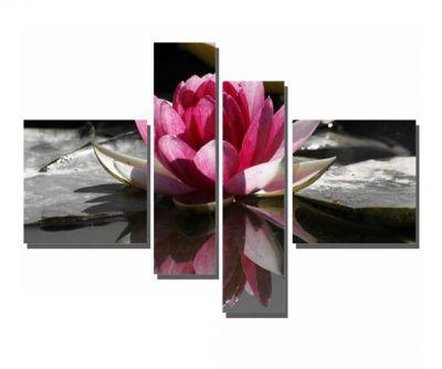 4 Parçalı Pembe Çiçek Tablosu