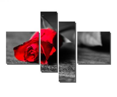 4 Parçalı Kırmızı Gül Tablosu