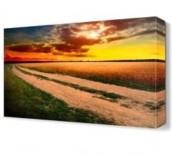 Dekorsevgisi - Gün Batımı Tarla Manzarası Canvas Tablo (1)