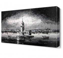 Dekorsevgisi - Kız Kulesi Siyah Beyaz Canvas Tablo (1)