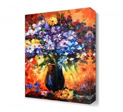Dekorsevgisi - Vazodaki Mor Çiçekler Canvas Tablo (1)