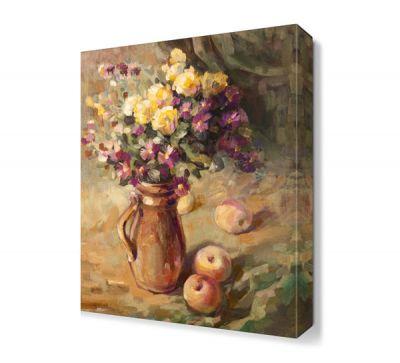 Saksı İçinde Sarı Mor Çiçek Tablosu