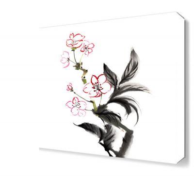 Siyah Yapraklı Çiçek Tablosu