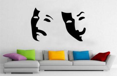 Gülen ve Ağlayan Yüz Duvar Stickeri