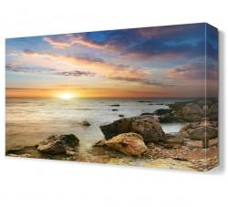 Güneş ve Deniz Manzarası Canvas Tablo - Thumbnail