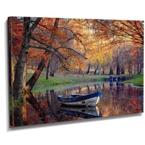Kayıklı sonbahar kanvas tablo