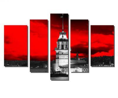 Kırmızı Gökyüzü ve Kız Kulesi Tablosu