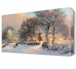 Sevimli Kış Manzarası Canvas Tablo - Thumbnail