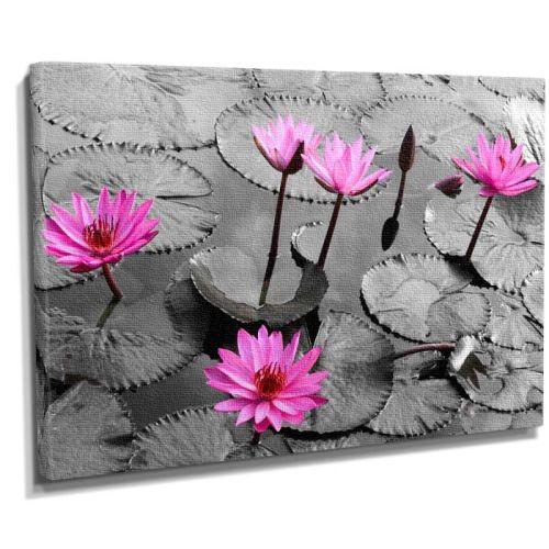 Pembe çicek motifli canvas tablo
