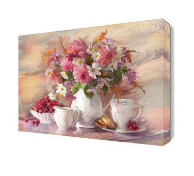 Pembe Çiçekler ve Kahve Tablosu