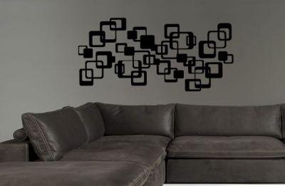 Siyah Kareler Duvar Stickeri