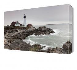 Dekorsevgisi - Deniz Feneri Kayalıklar Canvas Tablo (1)