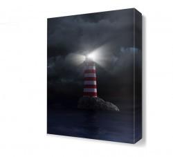 Dekorsevgisi - Gece Deniz Feneri Manzarası Canvas Tablo (1)