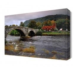 Dekorsevgisi - Köprü ve Akarsu Manzarası Canvas Tablo (1)