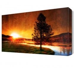 Dekorsevgisi - Yaz Mevsimi Güneşin Batışı Canvas Tablo (1)