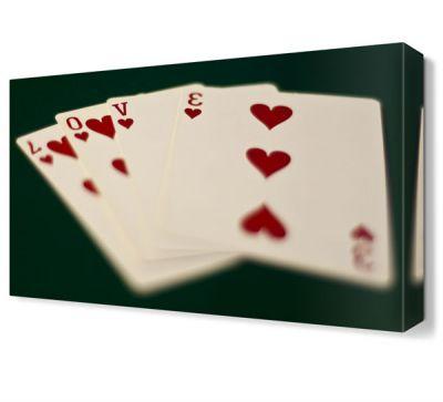 Love Poker Yazısı Canvas Tablo