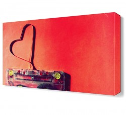 Kalp Şekilli Çanta Canvas Tablo - Thumbnail