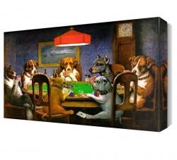 Kumar Oynayan Köpekler Canvas Tablo - Thumbnail