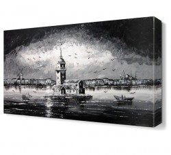 Kız Kulesi Siyah Beyaz Canvas Tablo - Thumbnail
