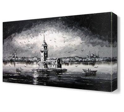 Kız Kulesi Siyah Beyaz Canvas Tablo