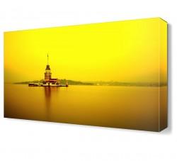 Renkli Kız Kulesi Canvas Tablo - Thumbnail