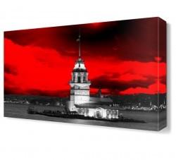 Dekorsevgisi - Kırmızı Kız Kulesi Canvas Tablo (1)