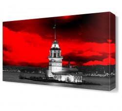 Kırmızı Kız Kulesi Canvas Tablo - Thumbnail