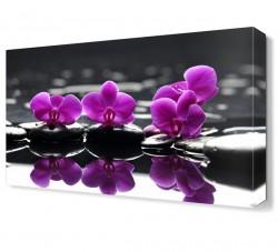 Mor Çiçekler ve Masaj Taşları Canvas Tablo - Thumbnail