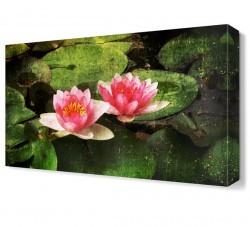 Dekorsevgisi - Yaprakların Üzerindeki Çiçekler Tablosu (1)
