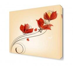 Dekorsevgisi - Kırmızı Çiçek Deseni Tablosu (1)