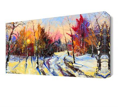 Ağaçlar Kış Manzara Tablosu