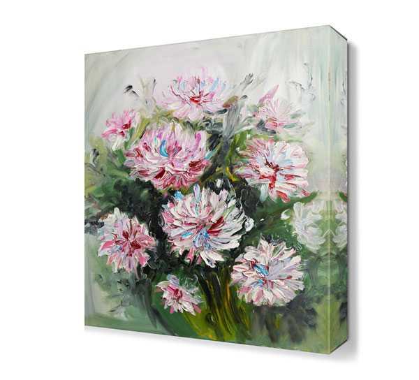 Yağlı Boya Pembe çiçek Buketi Tablosu