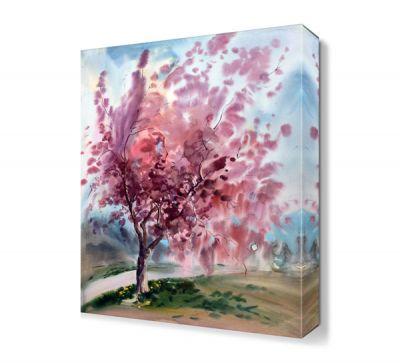 Yağlı Boya Pembe Ağaç Tablosu