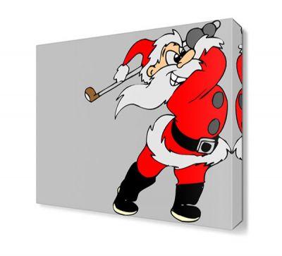 Golfçü Noel Baba Canvas Tablo
