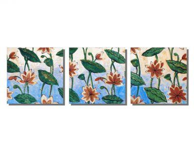 Turuncu Çiçek Desenleri Tablo