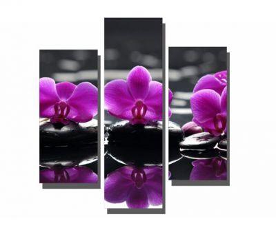 Üç Parçalı Mor Çiçekler Tablosu