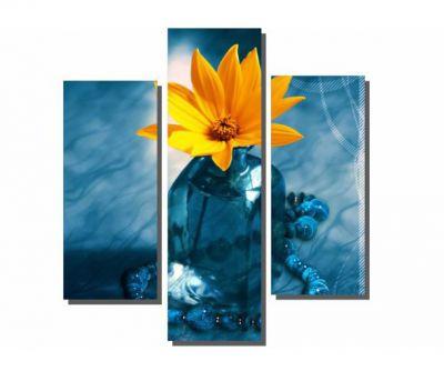 3 Parçalı Vazo Çiçeği Tablosu