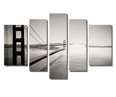 Siyah Beyaz Köprü Manzara Tablosu