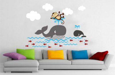 Yunus Balıklı Çocuk Duvar Stickeri
